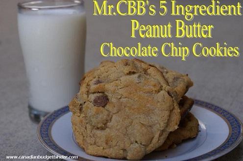 5 Ingredients: Simple Peanut Butter Chocolate Chip Cookies