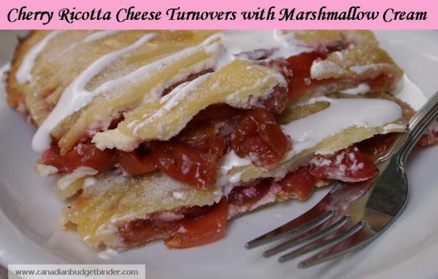 Cherry ricotta cheese turnovers with marshmallow cream