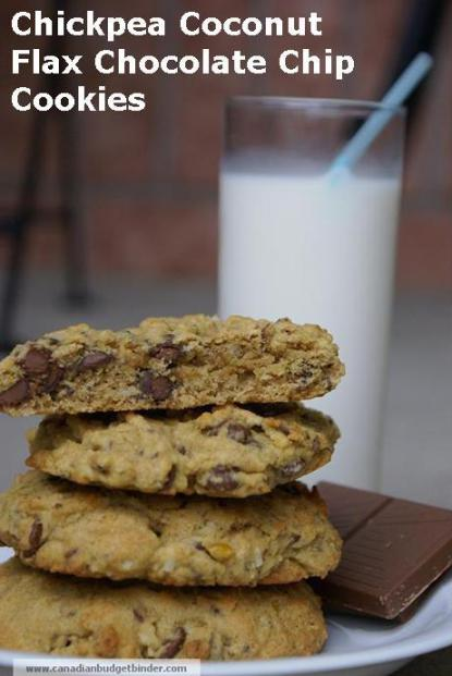 Chickpea Coconut Flax Chocolate Chip Cookies