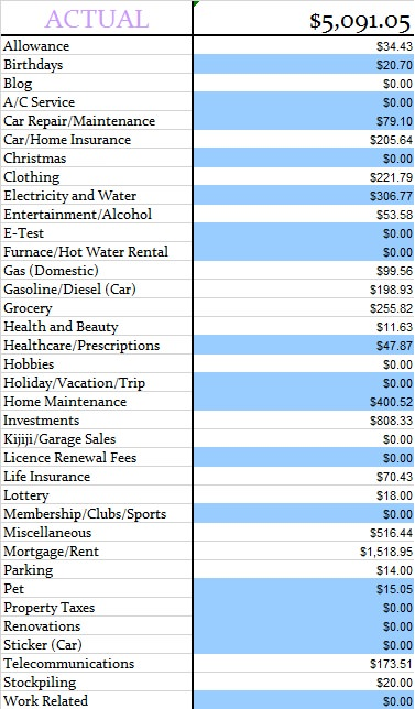 March 2014 Actual Expenses
