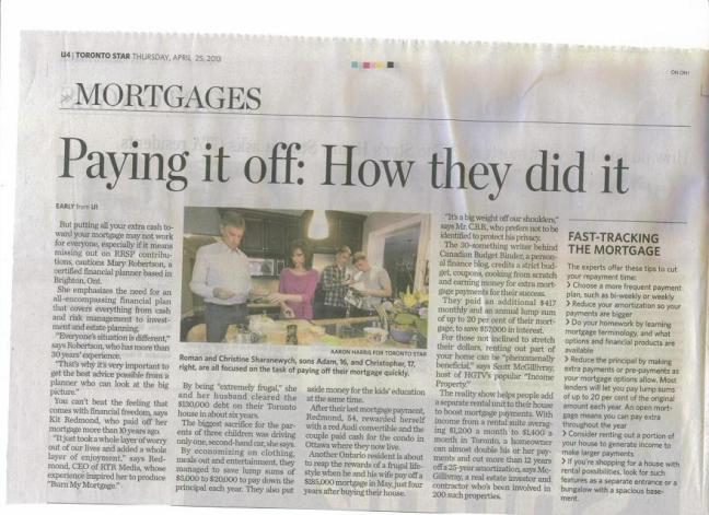 mortgage free article toronto star