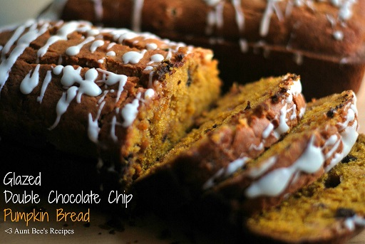 glazed double chocolate chip pumpkin bread