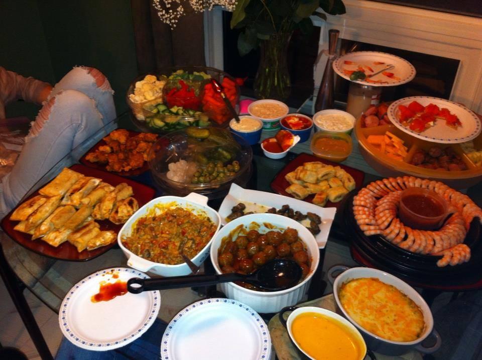 Super Bowl Finger Foods Table