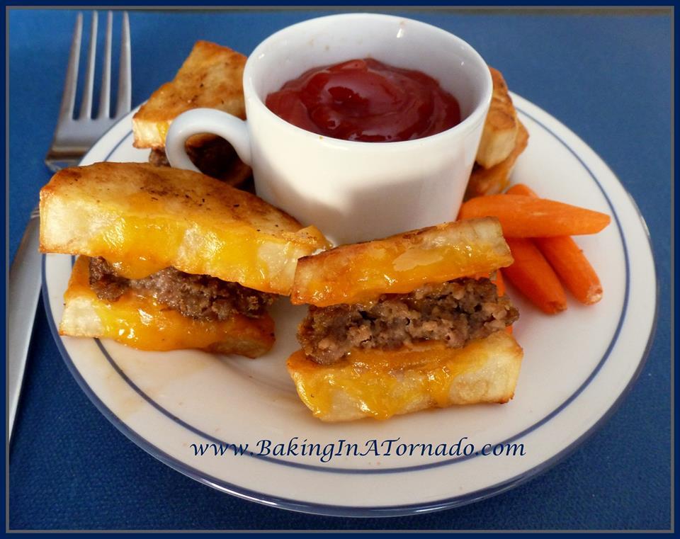 Super Bowl Food Burger Sliders on potato crisps