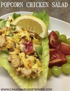 popcorn chicken salad lettuce wrap