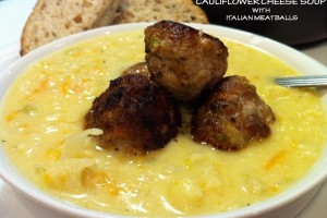 CREAMY CAULIFLOWER CHEESE SOUP WITH ITALIAN MEATBALLS