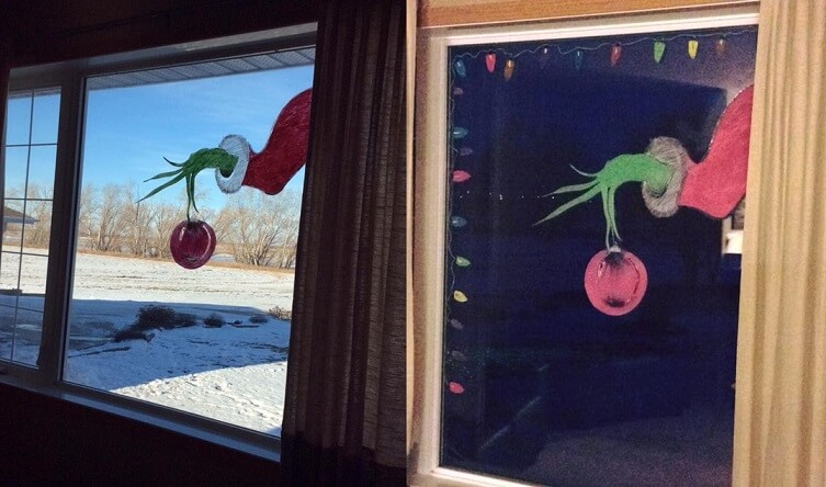 grinch window painting for Christmas
