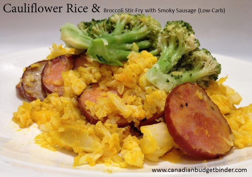 cauliflower rice and broccoli stir fry with smokey sausages(1)