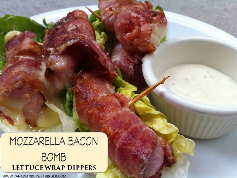mozzarella bacon bomb lettuce wrap dippers