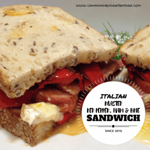 Italian roasted red pepper, ham and brie sandwich