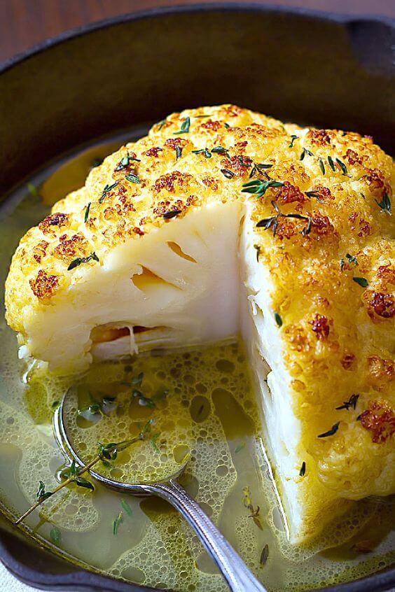 whole butter roasted cauliflower