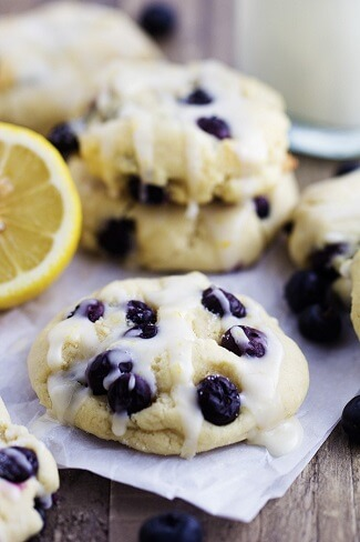 Blueberry cream cheese cookies with lemon glazeBlueberry cream cheese cookies with lemon glaze