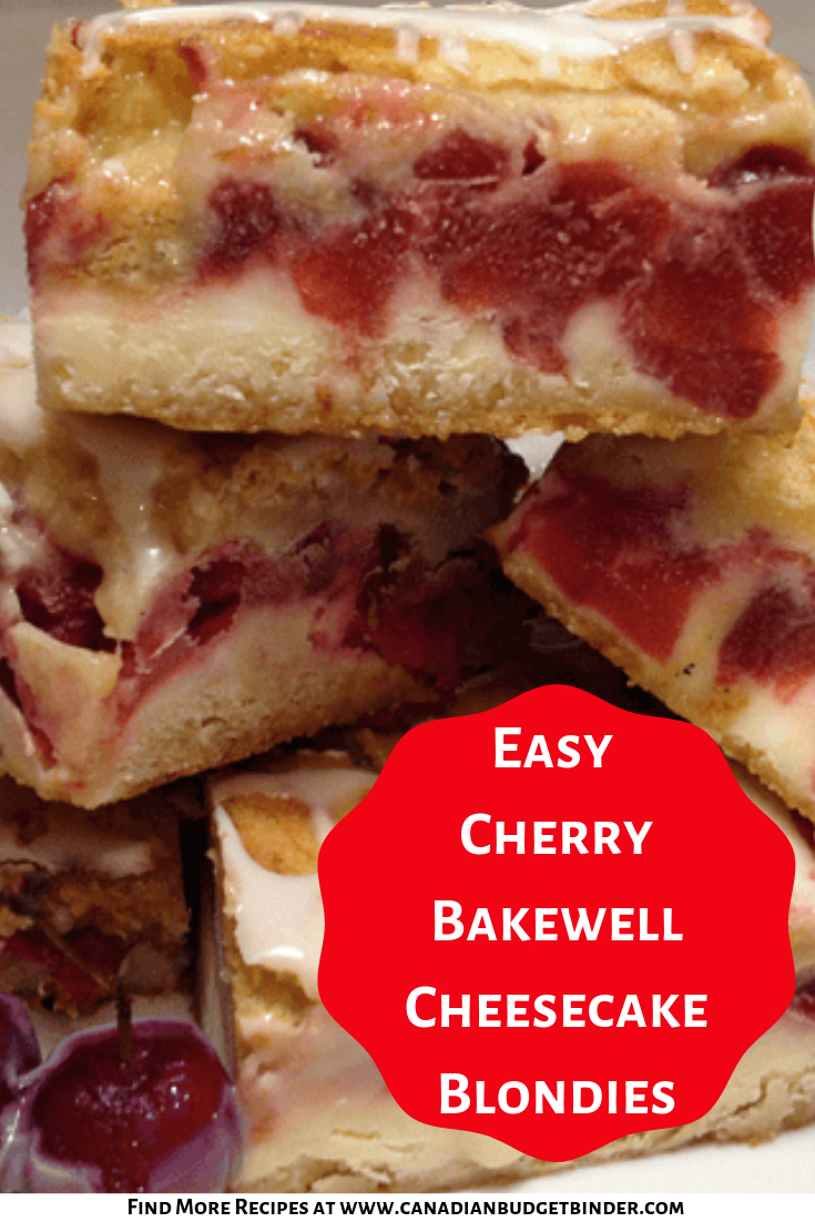 Cherry Bakewell Cheesecake Blondies