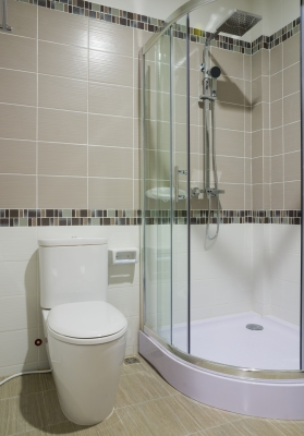 small bathroom renovation with glass shower