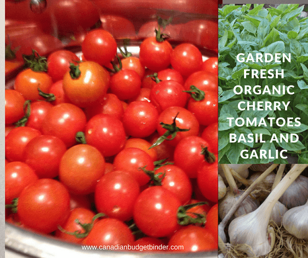 organic garlic tomatoes and basil