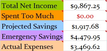 November 2016 Month Income and Expenses