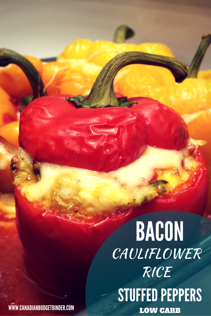 keto bacon cauliflower stuffed peppers