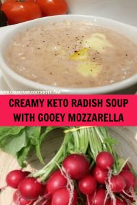 CREAMY KETO RADISH SOUP WITH GOOEY MOZZARELLA