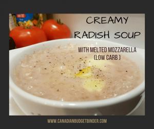 CREAMY RADISH SOUP WITH MELTED MOZZARELLA