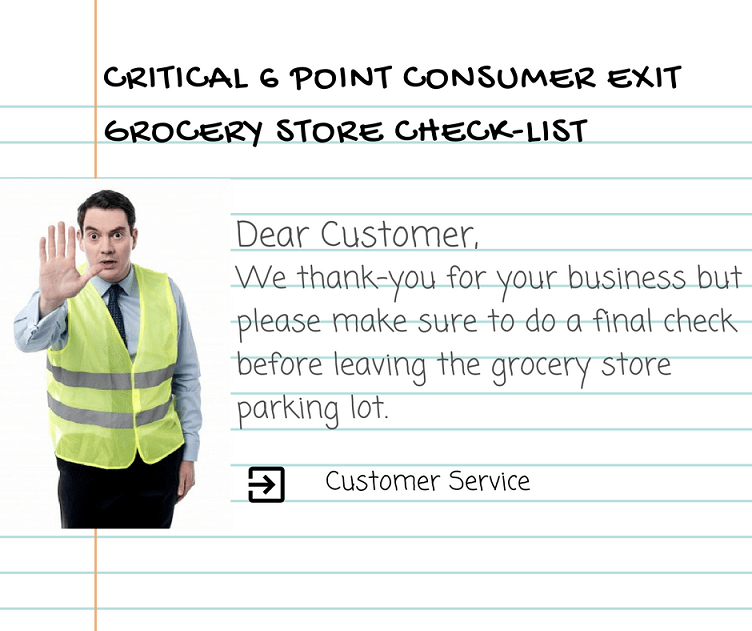 YOUR 6 POINT CONSUMER EXIT GROCERY STORE CHECK-LIST