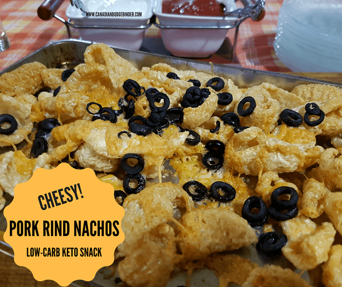 Baked Cheesy Pork Rind Nachos Low Carb Keto Snack Canadian Budget Binder