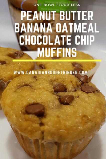 ONE-BOWL FLOUR-LESS PEANUT BUTTER BANANA OATMEAL CHOCOLATE CHIP MUFFINS PINT