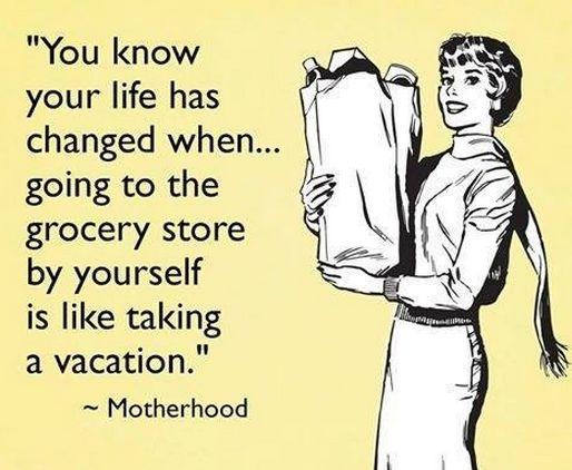 grocery shopping alone motherhood