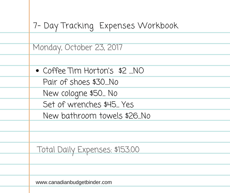 7 day Tracking Expenses Workbook