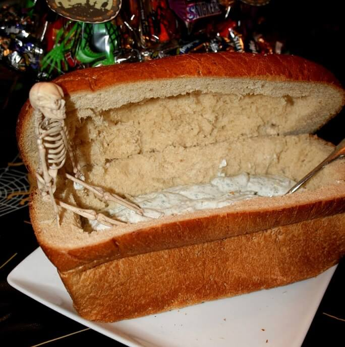 bread coffin for Halloween dip