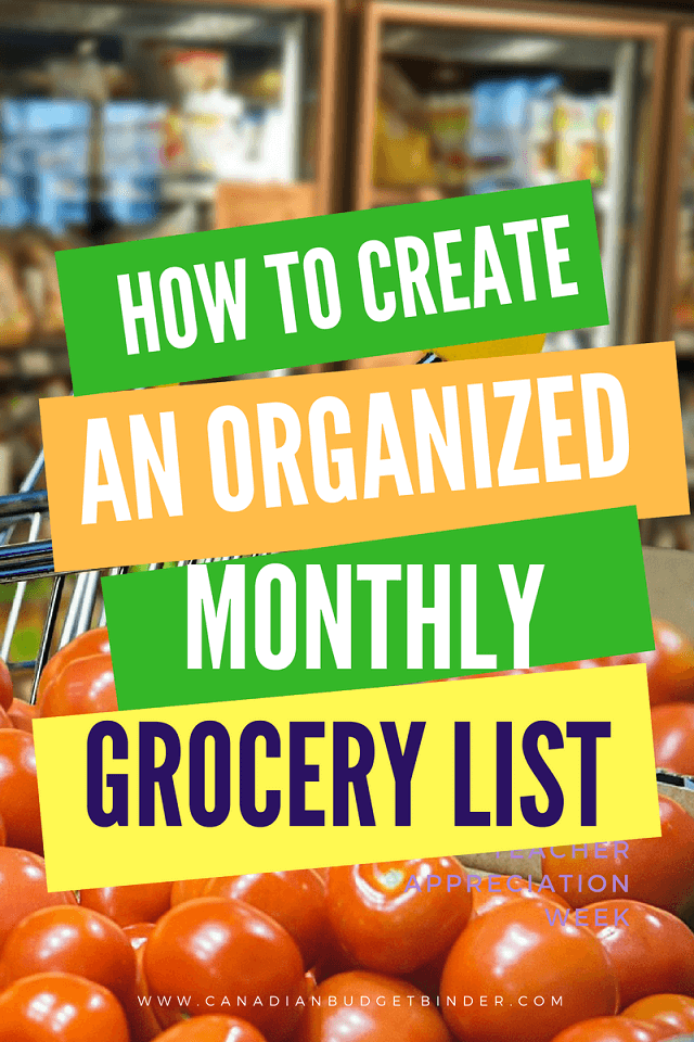 how to create an organized monthly grocery list