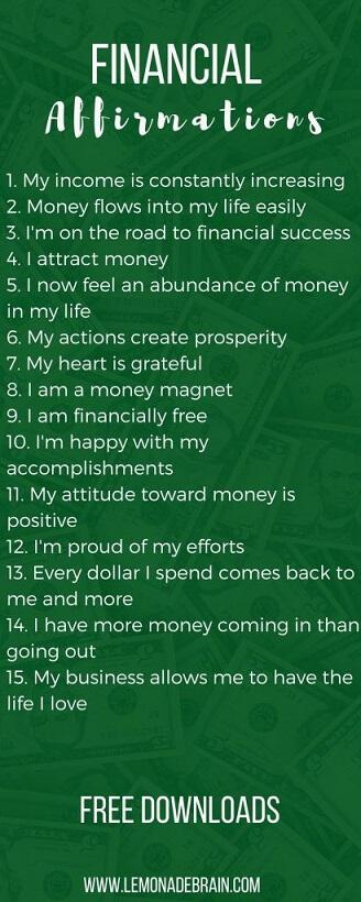 financial affirmations positive self talk