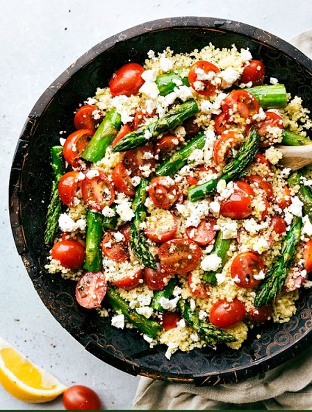 roasted asparagus salad with feta and cous-cous