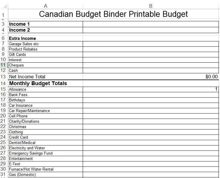 canadian budget binder basic budget snap shot