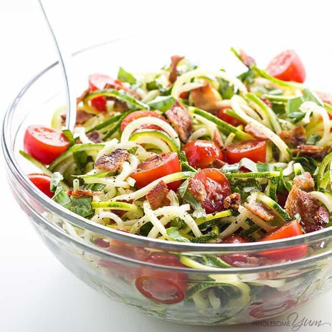 zucchini Noodle Salad with bacon and tomatoes