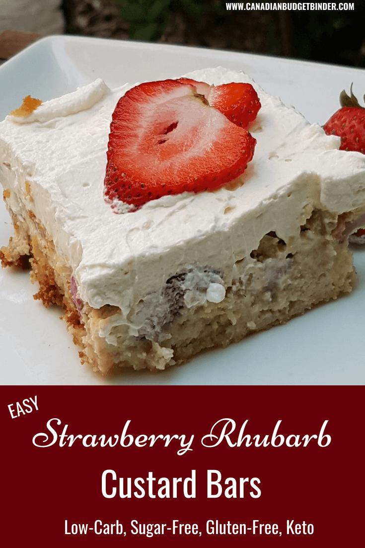 Easy Keto Strawberry Rhubarb Custard Bars