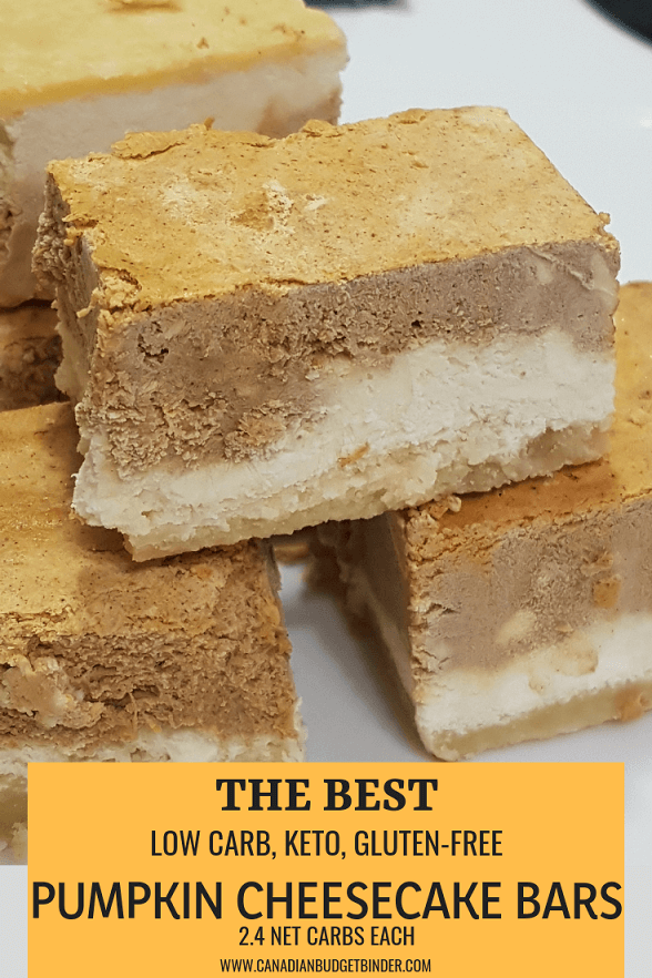THE BEST LOW CARB KETO PUMPKIN CHEESECAKE BARS