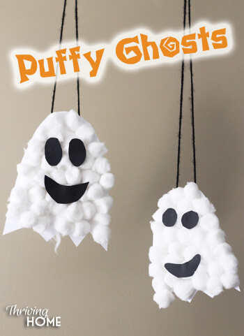 puffy ghosts Easy Halloween Crafts