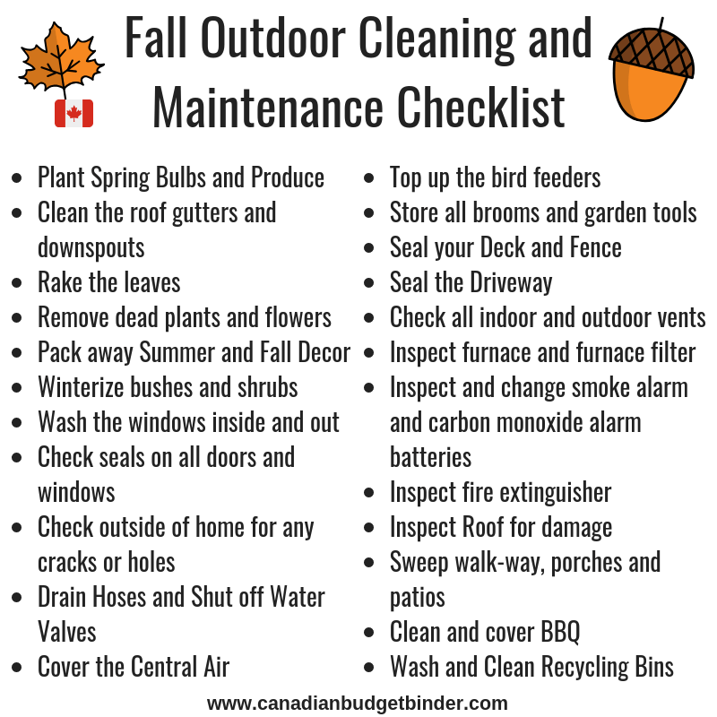 Must Do Outdoor Fall Home Maintenance Checklist Printable Canadian Budget Binder