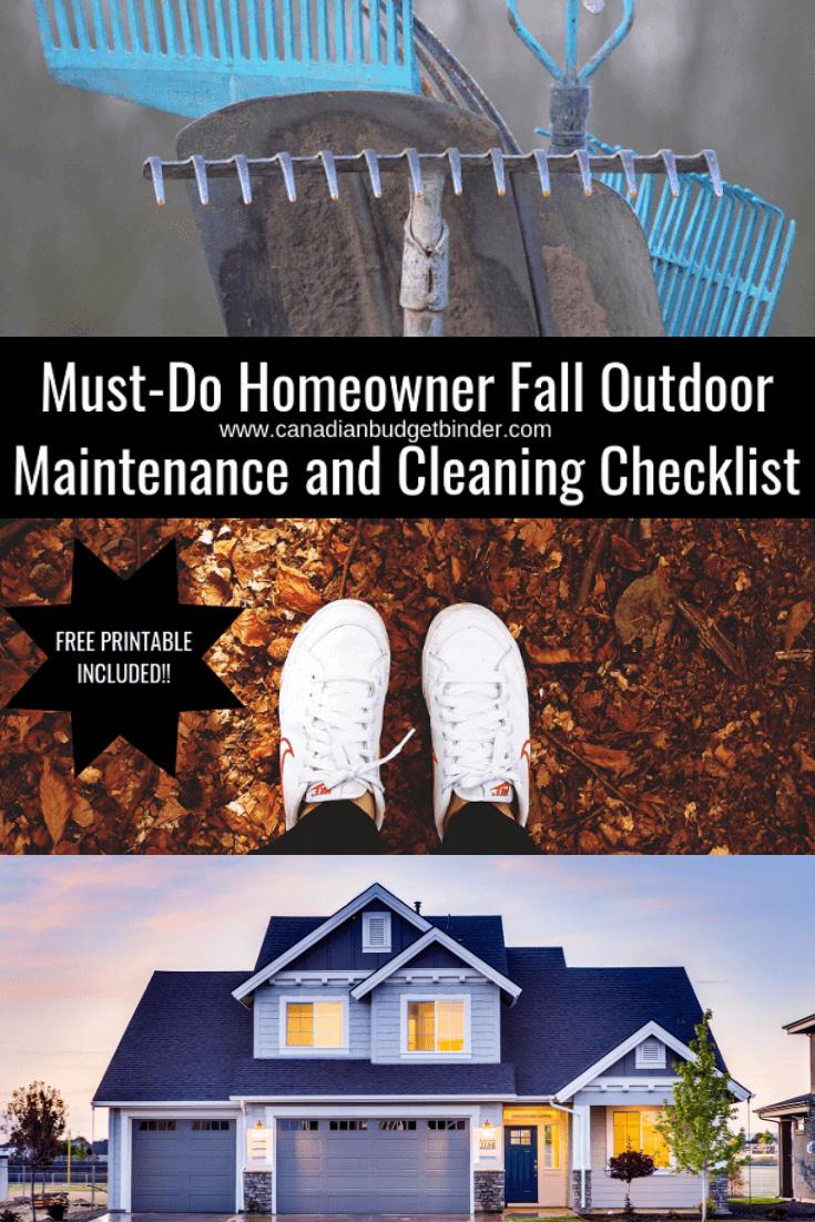 Outdoor Fall Home Maintenance Checklist (Free Printable)