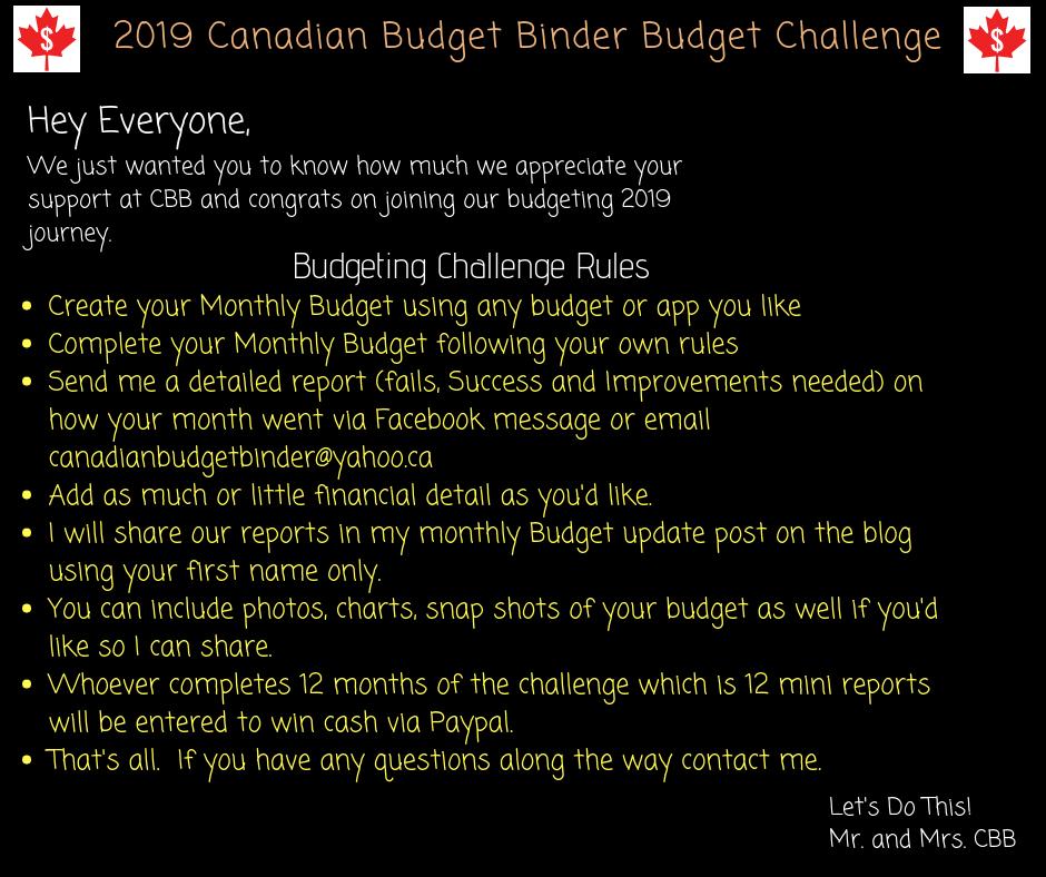 2019 Canadian Budget Binder Budget Challenge
