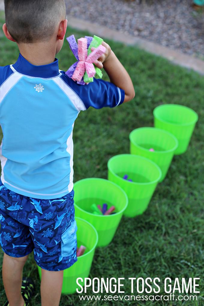 sponge toss game summer water play activities
