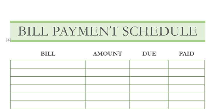 Bill Payment Schedule Printable