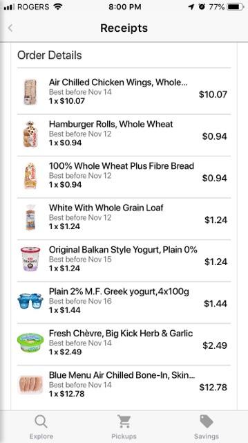 Flashfood App Grocery Receipt Canada