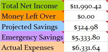 November 2019 Month Income and Expenses