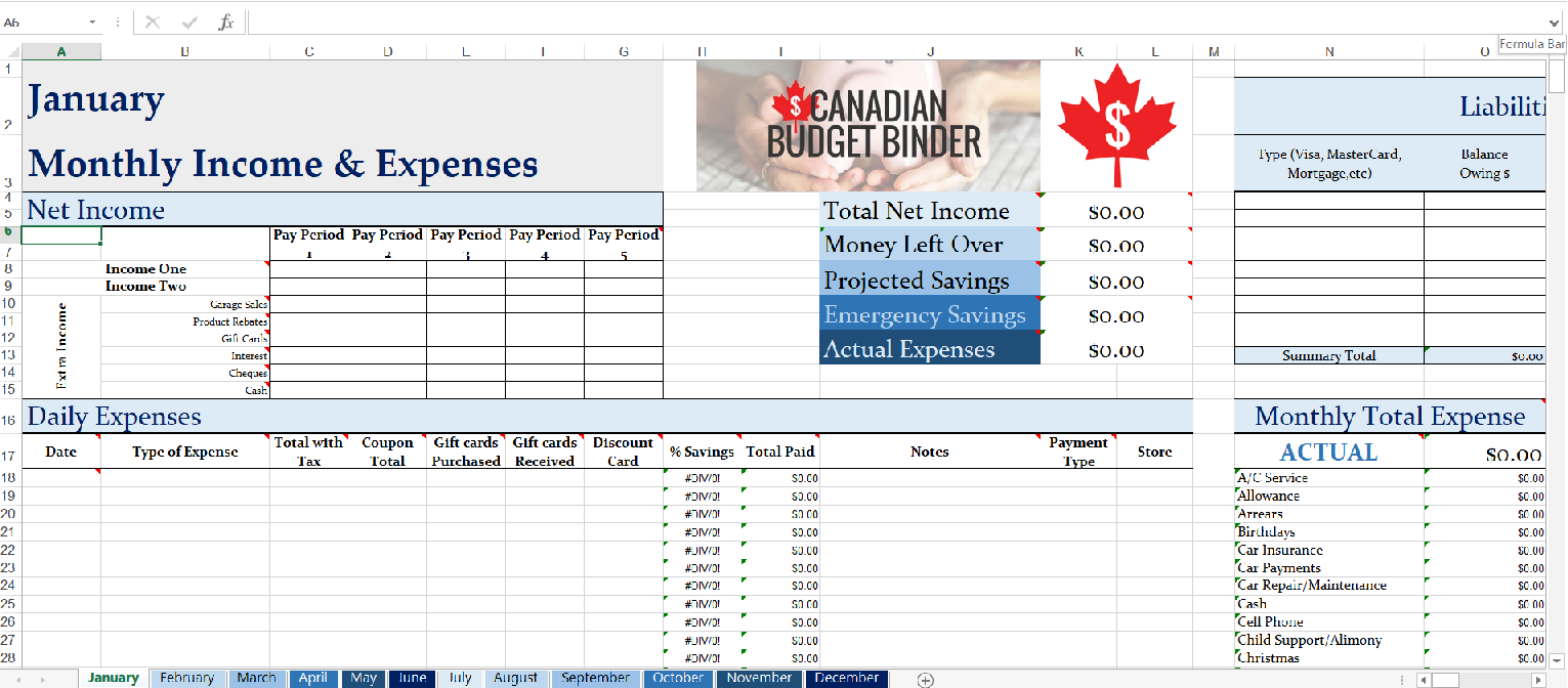 Screenshot of 2020 CBB Monthly Budget