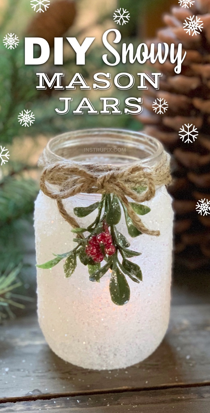 Christmas Snowy Mason Jar Craft