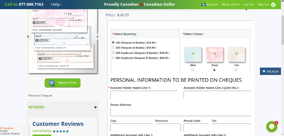 Canadian Personal Cheques