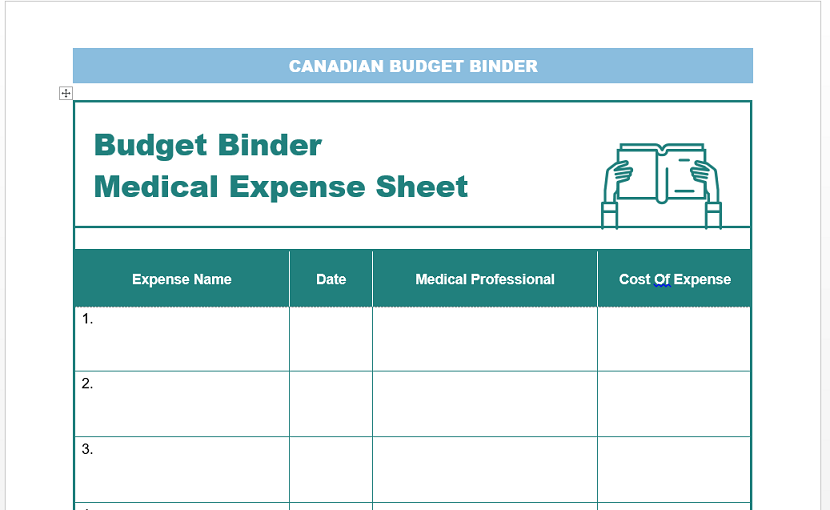 health costs tracking sheet
