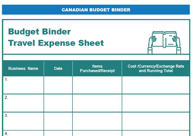 Travel Expense Printable