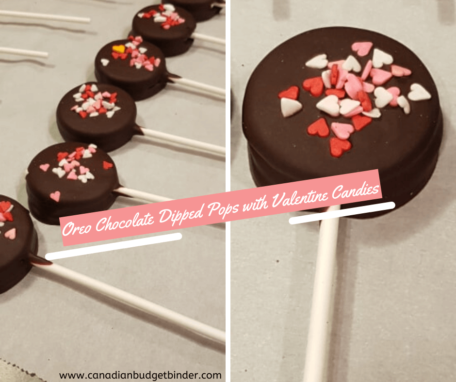 oreo chocolate dipped valentinees day pops with heart candies